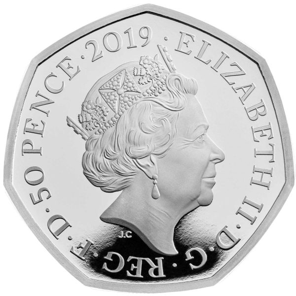 Image of obverse of 2019 Peter Rabbit 50p Silver Proof coin featuring Queen Elizabeth II
