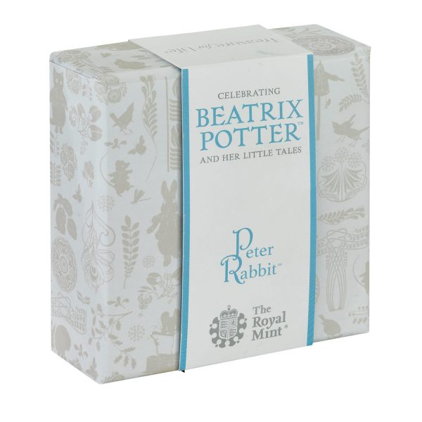 Image of Peter Rabbit 50p Silver Proof coin box upright