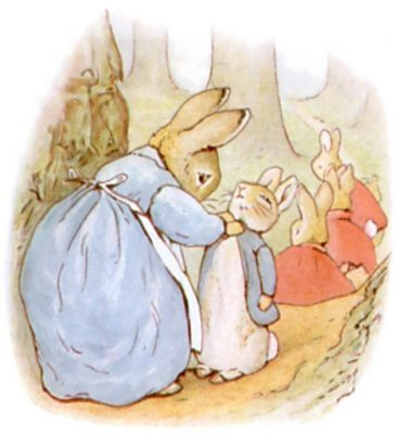 Illustration of Peter Rabbit with his mother by Beatrix Potter from The Tales of Peter Rabbit