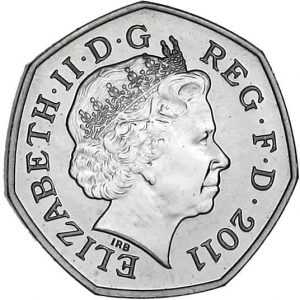 Image of obverse side of Archery 50p coin